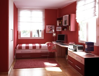 Colorful red paiting ideas for teenage bedroom