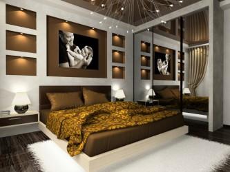 Luxury bedroom interior ideas with nice chandelier