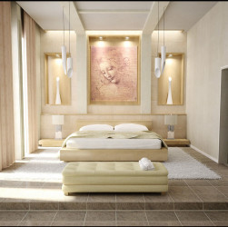 Luxury modern bedroom design with painting