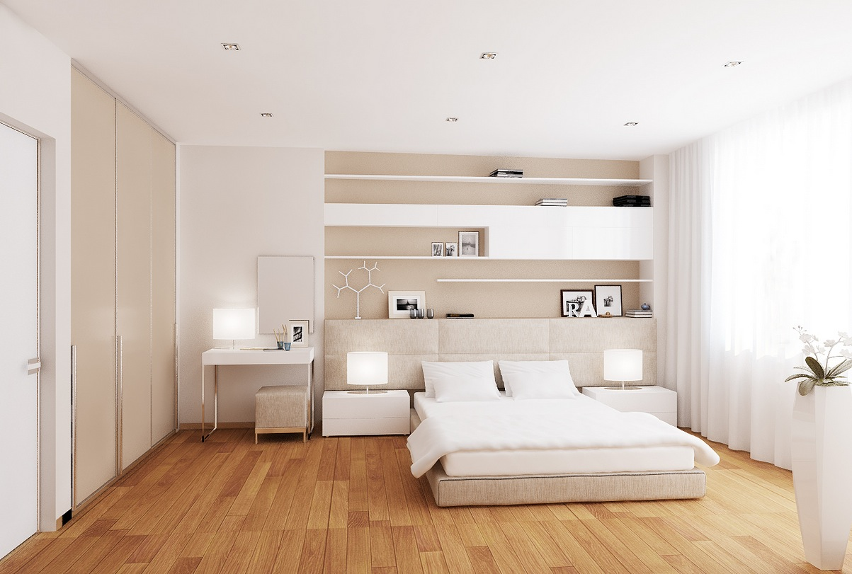 Modern white and cream interior design of bedroom spotlats for Interior designing ideas your apartment