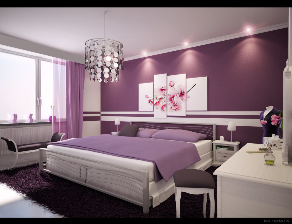teenage bedroom for stylish purple spotlats