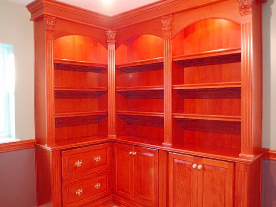 Using A Corner Bookcase Cabinet For Classic Design