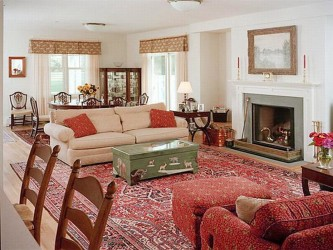 Arranging living room with fireplace