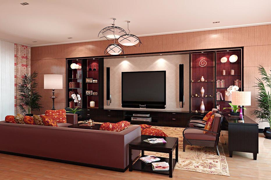 Brown Decoration Large Living Room
