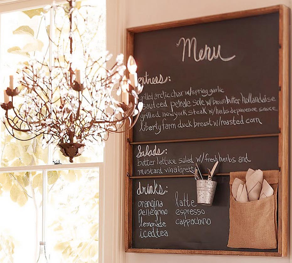 decorative  chalkboard menu on the kitchen