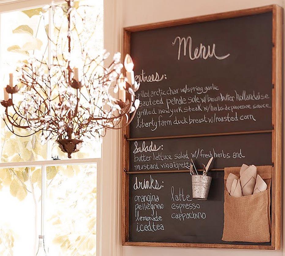 Decorative  Chalkboard Menu On The Kitchen