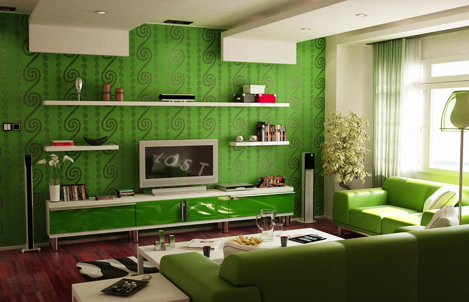 green living room idea