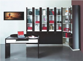 Modern corner bookcase cabinet