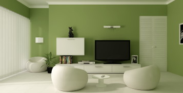 Modern green living room design