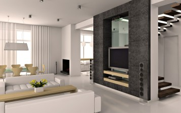 Modern white living room interior design