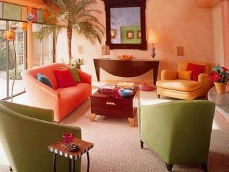 Orange green Color Schemes for Living Rooms