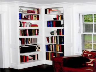White corner bookcase