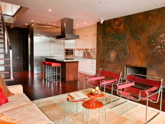 Modern Fireplace Inside the Wall