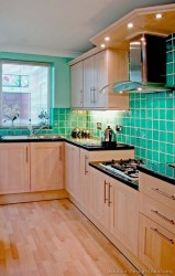 Blue turquoise tile backsplash
