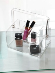 Clear makeup caddy storage idea