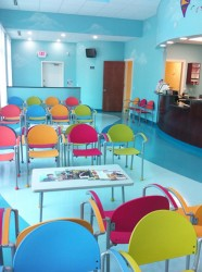 Colorful chairs on waiting room