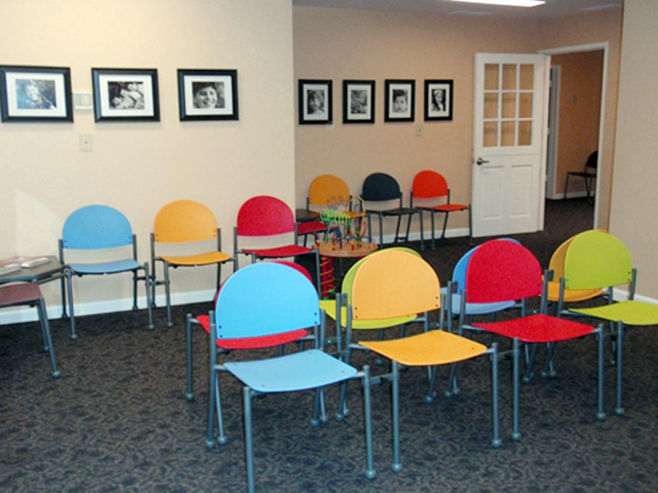 colorful waiting room chairs