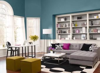 Elegant blue and white living room