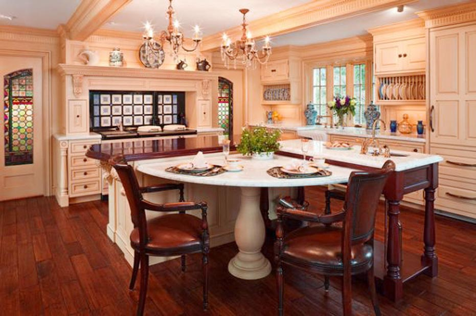 Luxury kitchen applying a kitchen island table combination