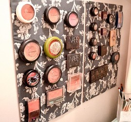 Makeup wall storage idea