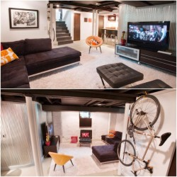 Media room basement remodel