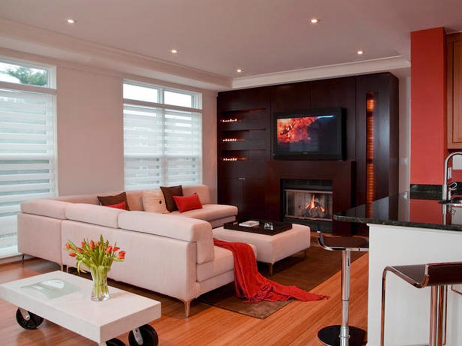 modern fireplace under tv