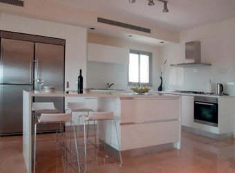 Modern kitchen island with table
