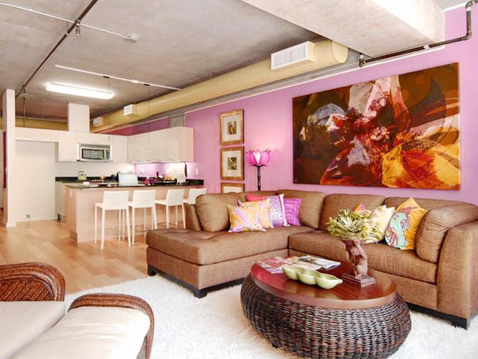 pink wall living room color paletts