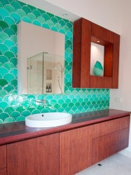 Turquoise blue bathroom backsplash