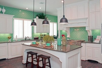 Turquoise blue kitchen set