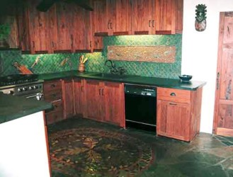 Turquoise gecko kitchen cabinet