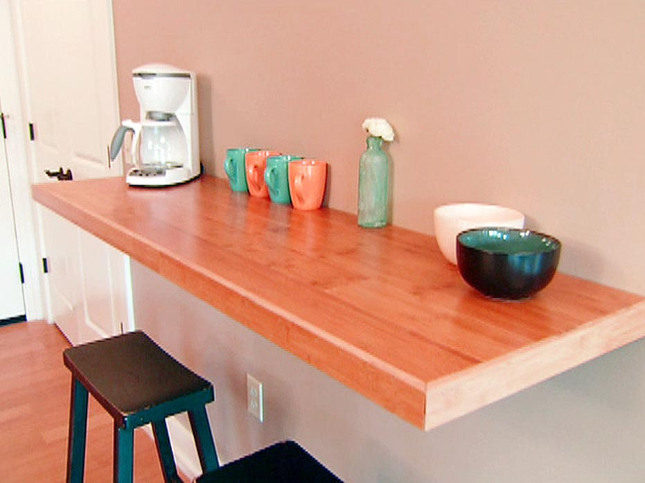 Wall Mounted Dining Table On The Kitchen