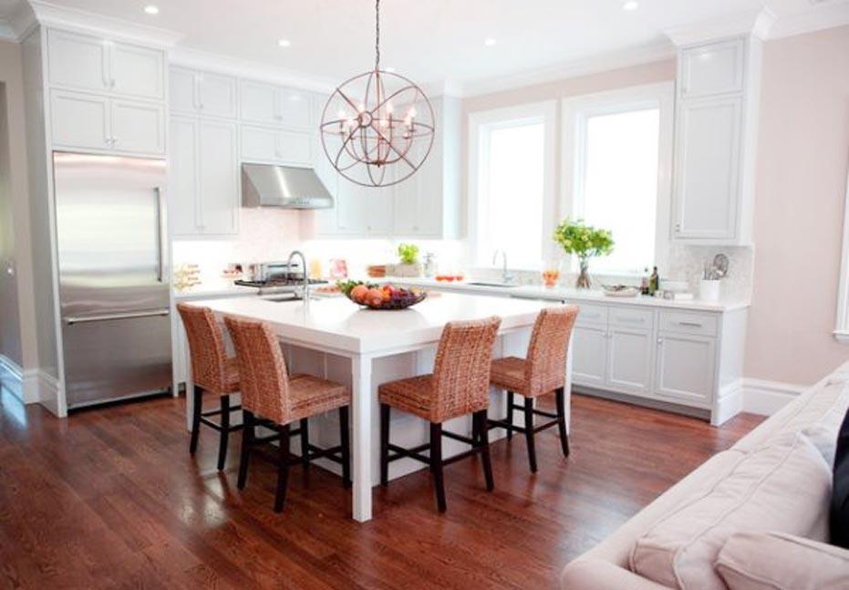 white kitchen design table