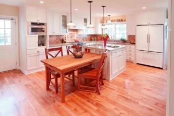 Wood floor wood island with table