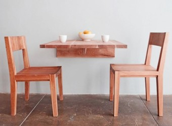 Wood wall mounted dining table