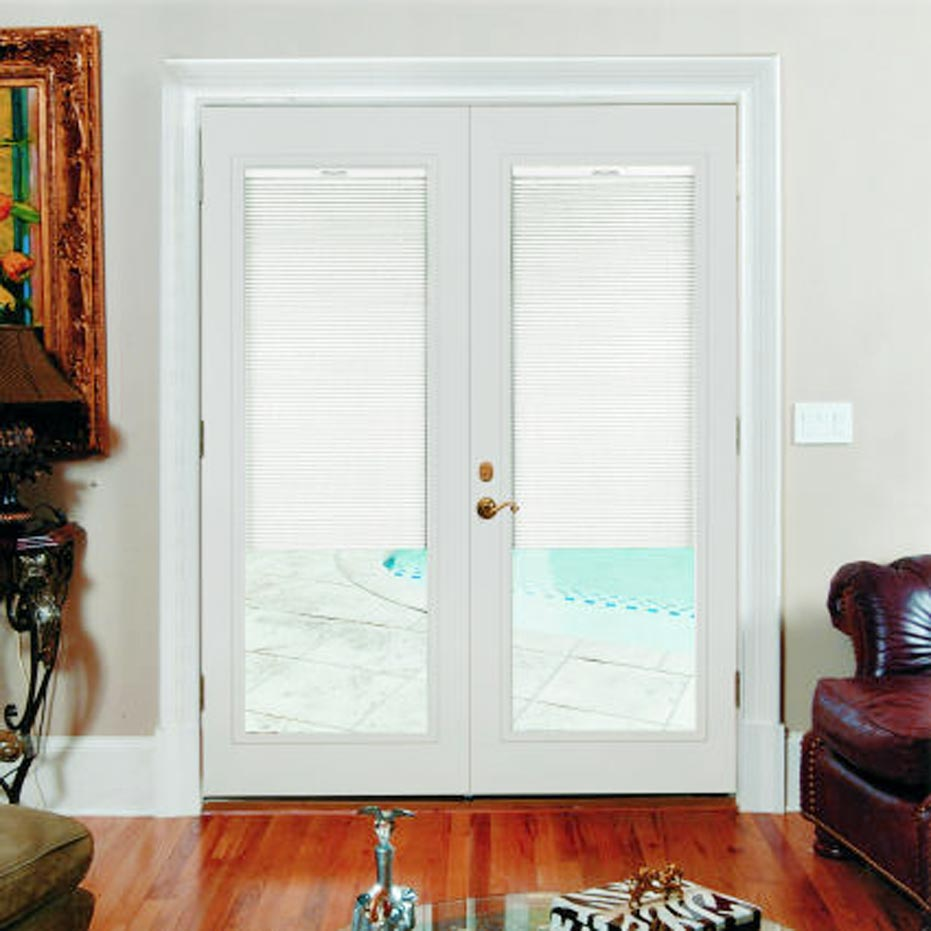 French patio doors with built in blinds 2 spotlats for Sliding door in french