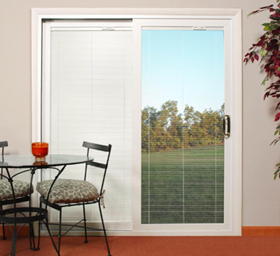 Sliding patio doors with built in blinds 3 spotlats for Windows with built in shades