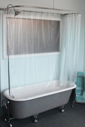 Ceiling mounted shower curtain for clawfoot tub 2