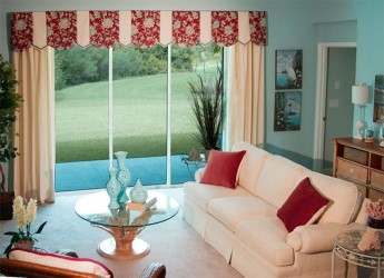 Sliding doors with valances and blinds inside