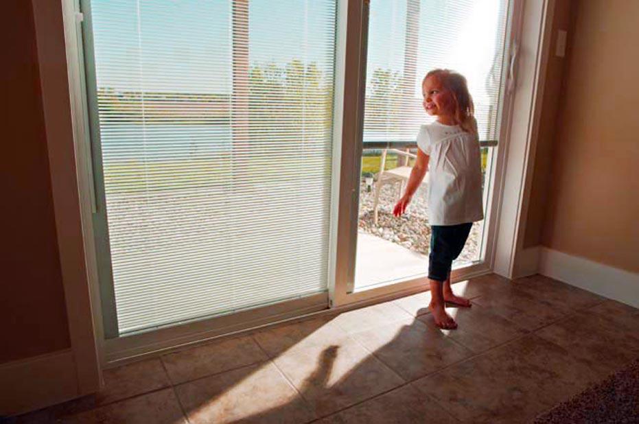 Built in blinds sliding patio door
