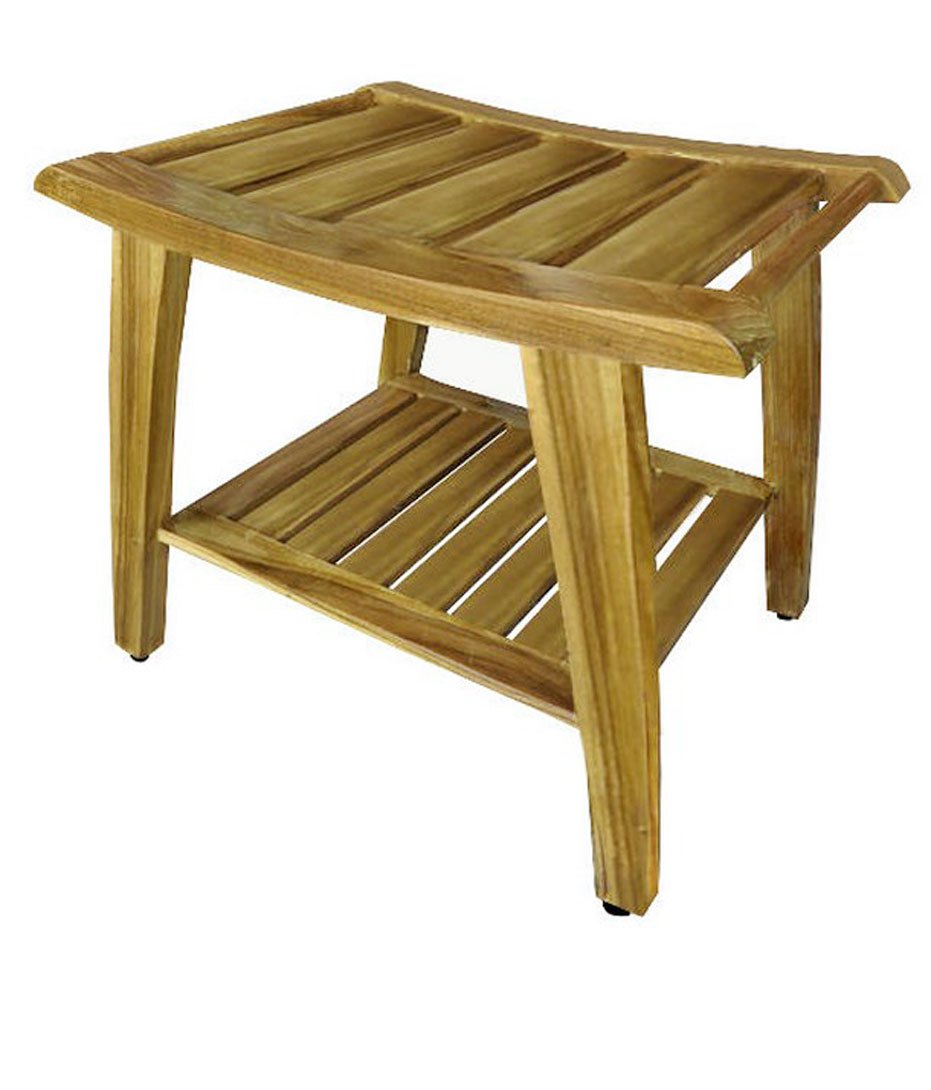folding teak wood shower bench 2