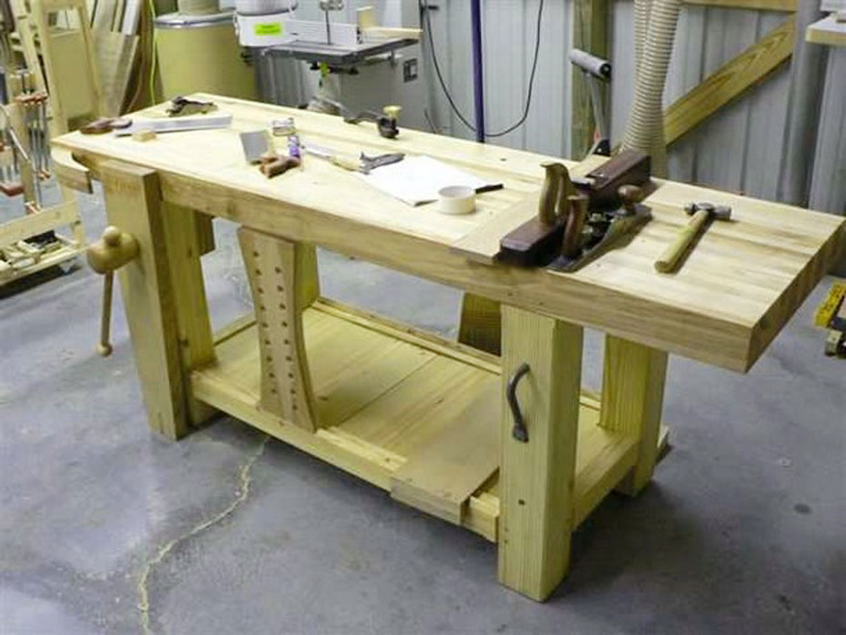 Garage wooden work bench plans functions spotlats for Working table design ideas