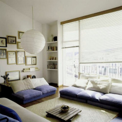 Rice paper pull down window shades