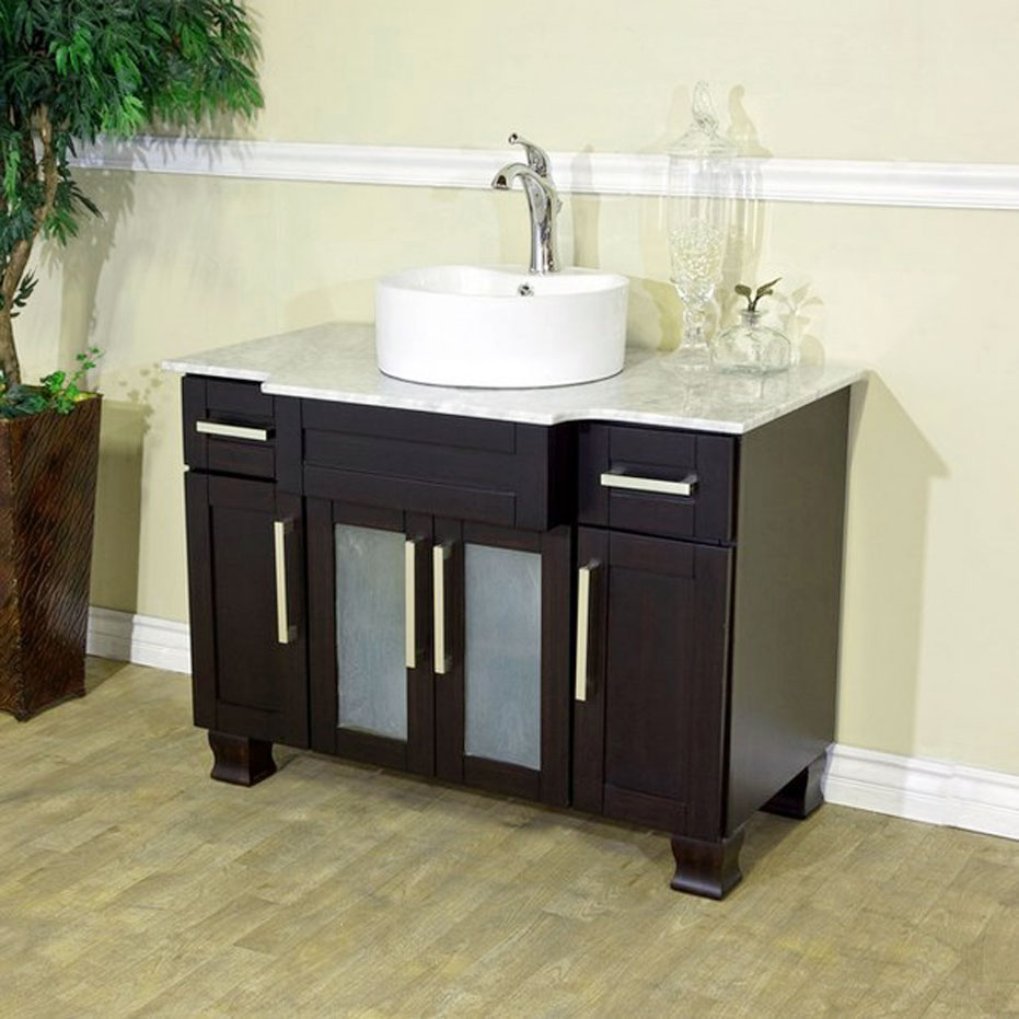 Small bathroom vanities with vessel sinks as an for Double vanity for small bathroom