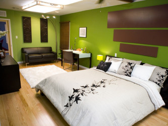 Bright Green Walls Bedroom Design
