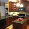 Countertops with hanging lamp