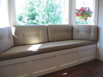 Elegant Leather Bay Window Seat And Leather Cushions