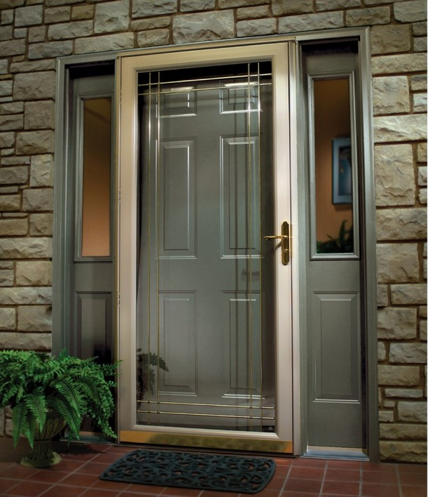 Security storm doors with screens spotlats for French storm doors