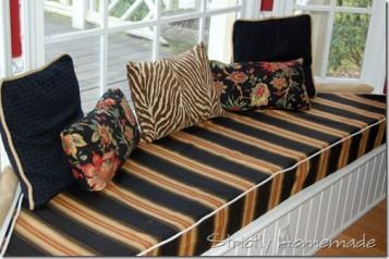 Black Orange Bay Window Seat Cushions Covers