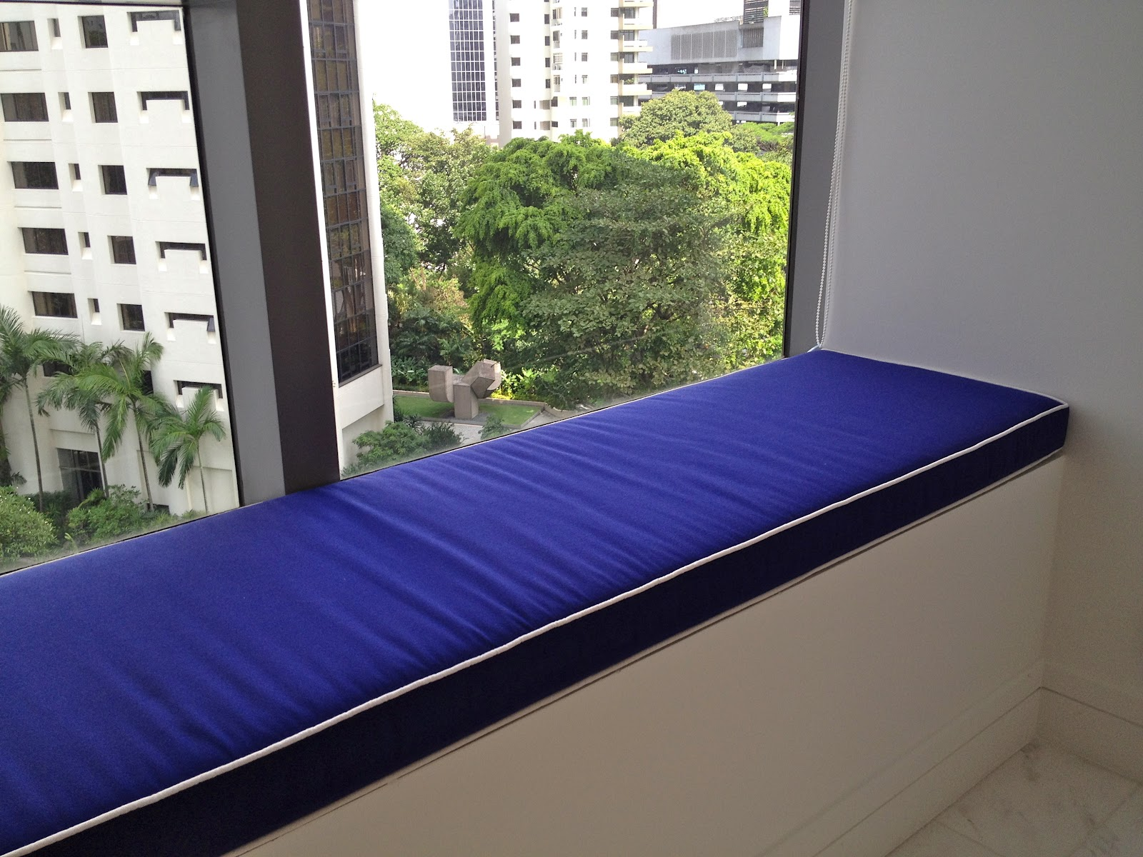 blue bay window seat cushions covers